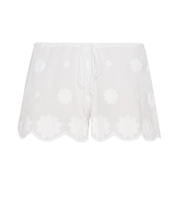 Miguelina Daisy Floral Embroidery Shorts
