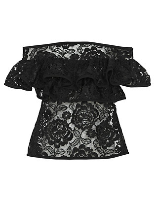 Alexis Crista Ruffled Lace Off The Shoulder Top: Black