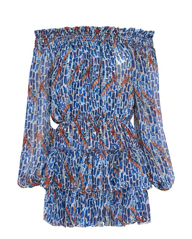 Caroline Constas EXCLUSIVE Off The Shoulder Chiffon Print Dress