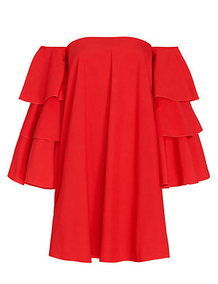 Caroline Constas EXCLUSIVE Carmen Ruffle Sleeve Off The Shoulder Dress