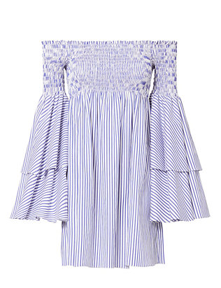 Caroline Constas Apollonia Striped Off-The-Shoulder Flare Sleeve Dress
