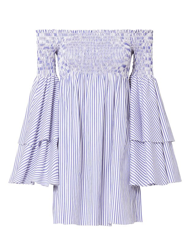 Caroline Constas Apollonia Striped Off The Shoulder Flare Sleeve Dress