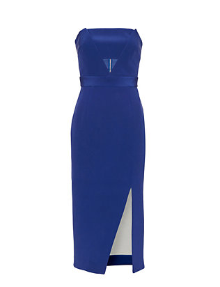 Nicholas Strapless Bonded Silk Cut Out Dress