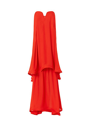 Nicholas Georgette Strapless Gown: Red