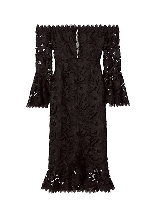 Nicholas Off The Shoulder Lace-Up Dress