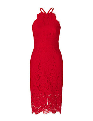 LOVER EXCLUSIVE Oasis Halter Dress: Red