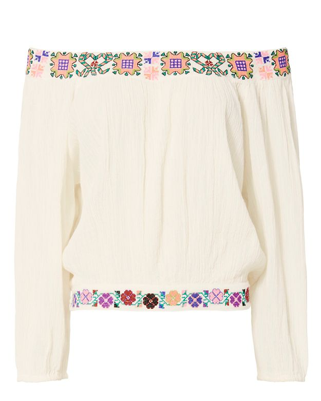 Melissa Odabash Daisy Embroidered Off-The-Shoulder Top