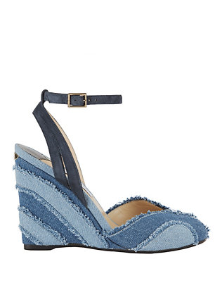 Jimmy Choo Damon Frayed Denim Covered Wedge Sandals
