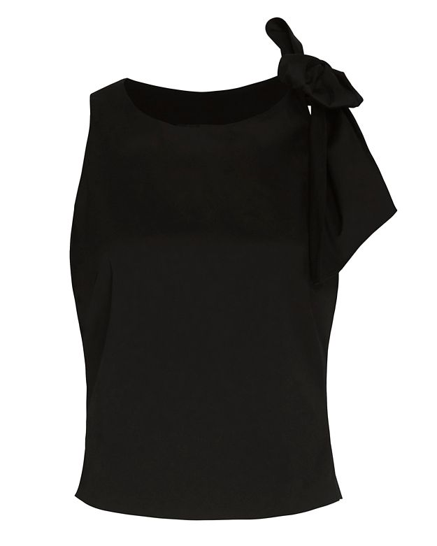 Exclusive for Intermix Lisle Bow Detail Top: Black