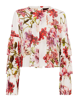 Exclusive for Intermix Alberta Ruffle Sleeve Floral Top
