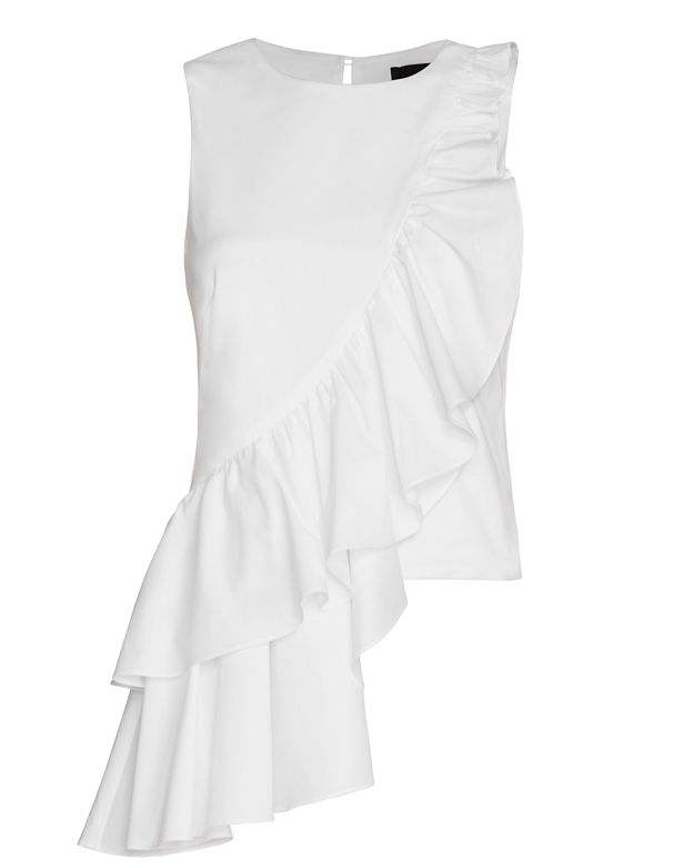 Exclusive for Intermix Francis Poplin Ruffle Top: White