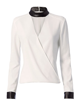 Exclusive for Intermix Strom Leather-Like Detail Blouse
