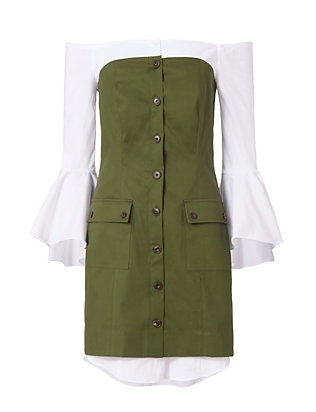 Exclusive for Intermix Sinclair Poplin Underlay Dress: Olive