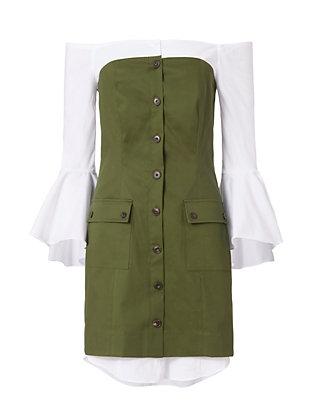 Sinclair Poplin Underlay Dress: Olive