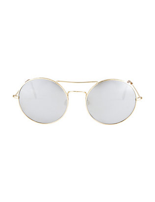 Illesteva Delon Mirrored Lense Gold-Tone Sunglasses