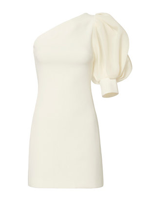 David Koma Puff Sleeve One Shoulder Dress