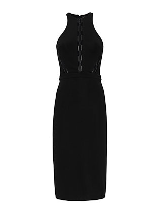 David Koma Lace-Up Panel Dress: Black