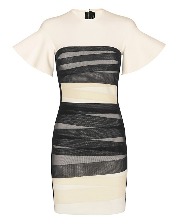 David Koma Bondage Strap Flounce Sleeve Dress