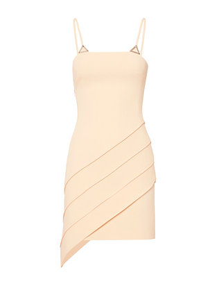 David Koma Asymmetric Hem Silver-Tone Metal Embellished Dress