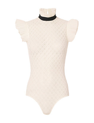 David Koma Frill Detail Sheer Bodysuit