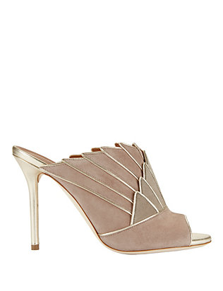 Donna Metallic Detail Fanned Suede Mule Sandals