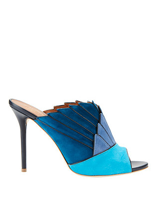 Donna Blue Fanned Suede Mule Sandals