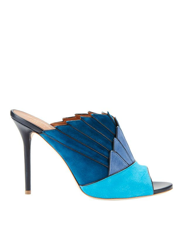 Malone Souliers Donna Blue Fanned Suede Mule Sandals