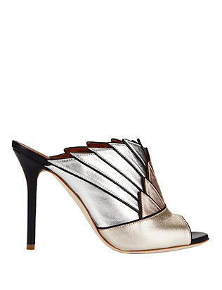 Malone Souliers Donna Metallic Colorblock Fanned Mule Sandals