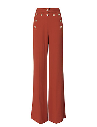 High-Waisted Button Detail Flare Pants