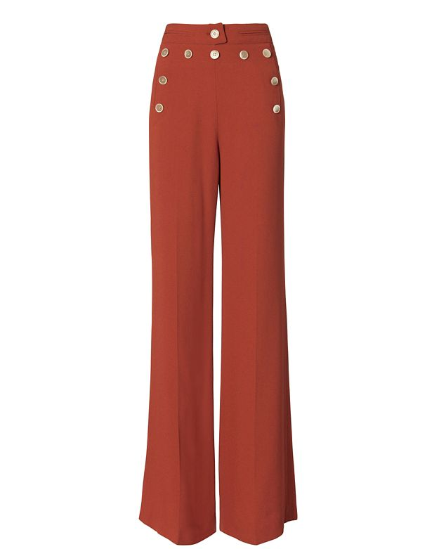 Derek Lam High-Waisted Button Detail Flare Pant