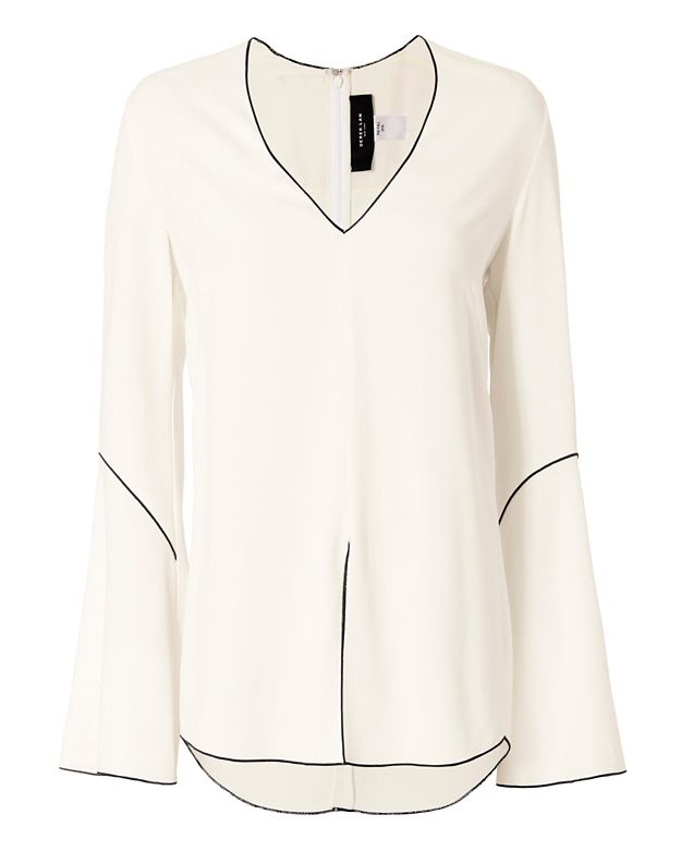 Derek Lam Piping Bell Sleeve Blouse