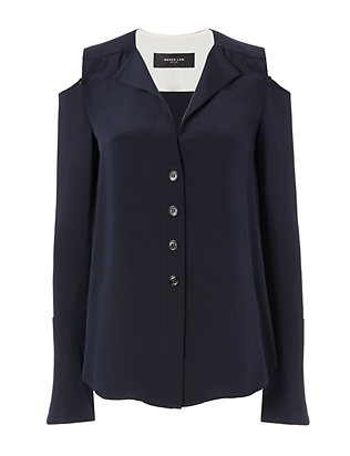 Exposed Shoulder Blouse: Navy