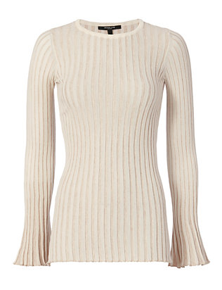Bell Sleeve Rib Knit: Champagne
