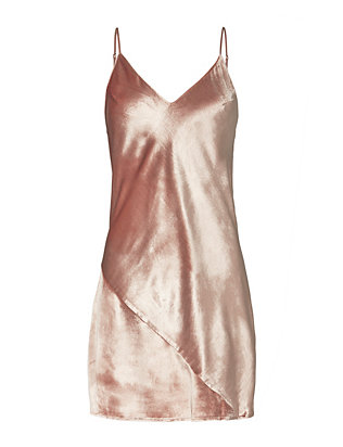 Fleur Du Mal Platinum Rose Velvet Mini Slip Dress