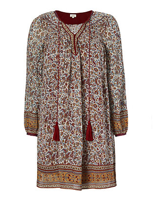 Talitha Paisley Print Smocked Silk Dress
