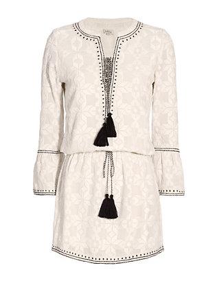Tonal Geometric Lace-Up Dress