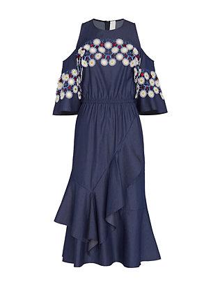 Off The Shoulder Cotton Lace Dress: Indigo