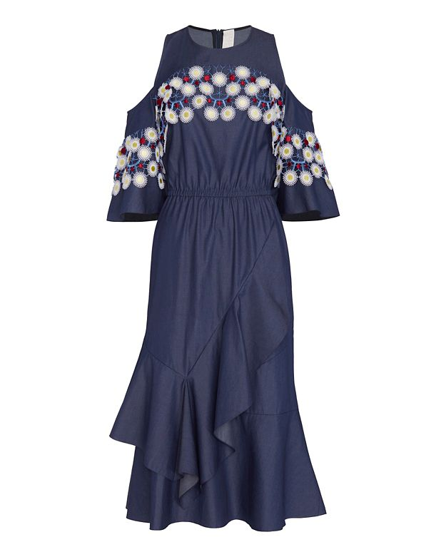 Peter Pilotto Off The Shoulder Cotton Lace Dress: Indigo