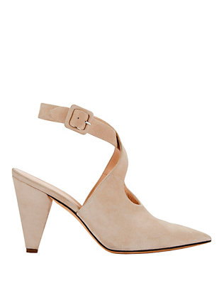 Ana Buckled Strap Suede Pumps