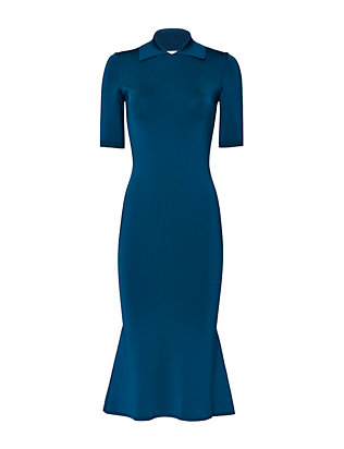 Victoria Beckham Short Sleeve Flounced Hem Dress