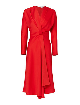 Victoria Beckham Long Sleeve Wrap Drape Dress