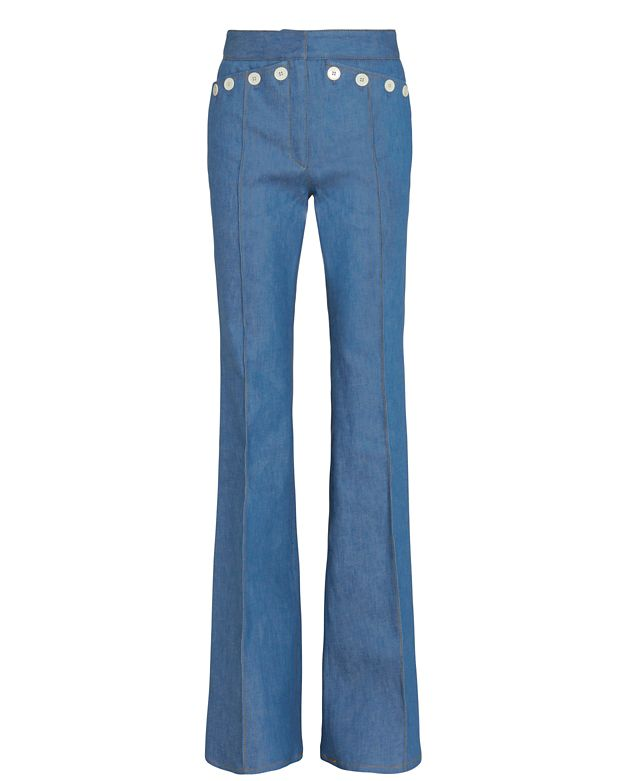 Derek Lam Button Detail Sailor Flare Leg Denim