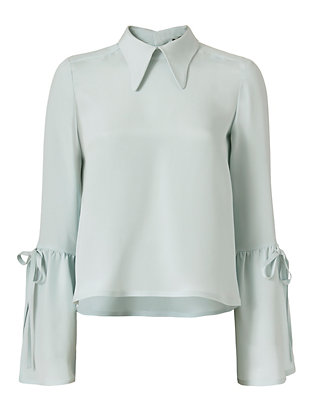 Derek Lam Flare Sleeve Button Back Blouse