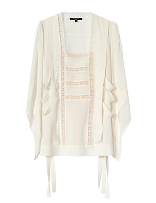 Derek Lam Embroidered Lace Blouse: White