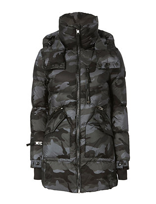 Camo Cruiser Puffer Long Jacket