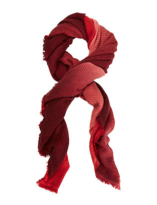 Bajra Basketweave Ombre Scarf: Red/Burgundy