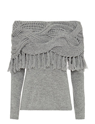Exclusive for Intermix Off The Shoulder Mixed Cable Knit Fringe Top