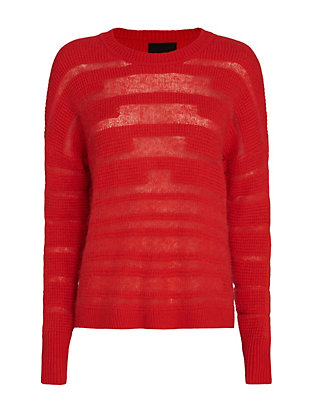 Exclusive for Intermix Mixed Textured Knit Pullover: Red