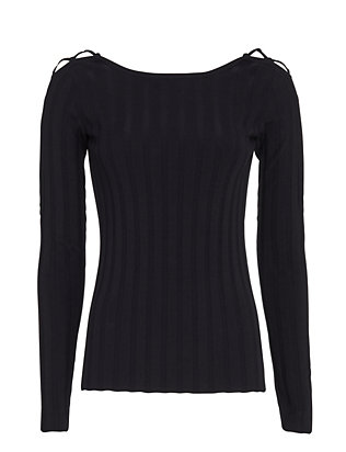 Exclusive for Intermix Lace-Up Shoulder Rib Knit: Navy