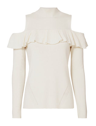Kendall Ruffle Cold Shoulder Sweater